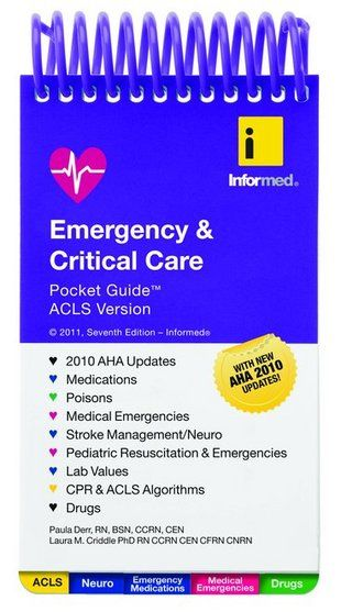 Emergency & Critical Care Pocket Guide, ACLS Version  I started using this 10 years ago, many updates since then, but when I started working in the ER, it was a great comfort companion. Paramedics, EMT's and flight nurses use also. A must have for any nurse.