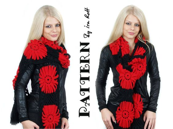 Gerbera Daisy Scarf Crochet PDF Pattern  $5.50 CAD    FORMAT: pdf, 5 pages, chart pattern, includes row by row instruction and pictures. Easy to follow