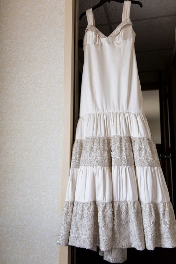 Unique non-strapless wedding gown. From Doug & Erica's winter DC wedding at DAR Constitution Hall. Images by True Stories Studios.