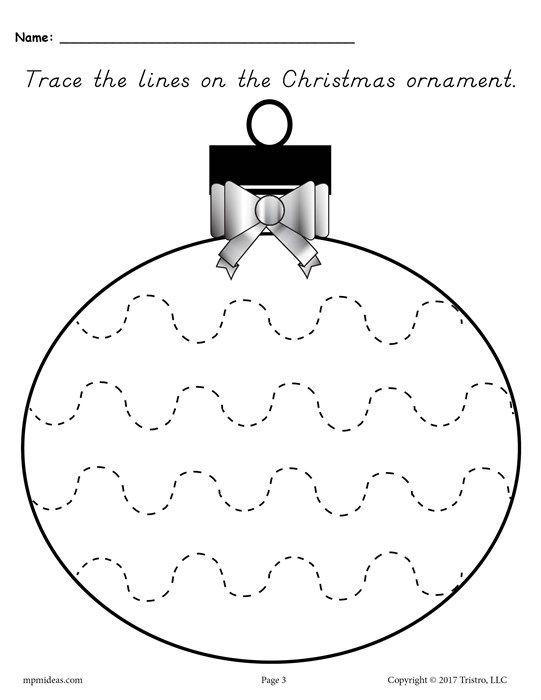 Printable Christmas Ornament Line Tracing Worksheets Preschool Christmas Holiday Worksheets Preschool Christmas Worksheets