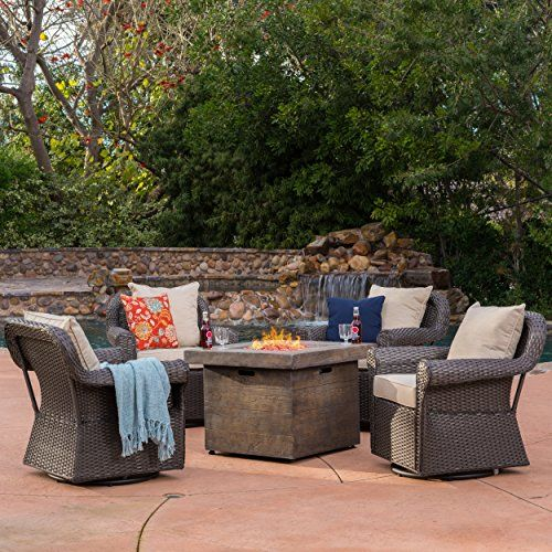 Augusta Patio Furniture 5 Piece Outdoor Wicker Swivel Rocker And Propane Gas Fire Table Pit Set Best Prices Fire Pit Seating Outdoor Fire Pit Fire Pit Decor