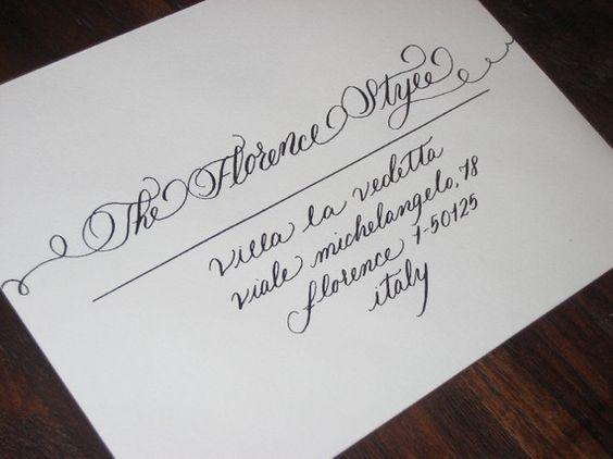 Florence flourished calligraphy style handwritten calligraphy