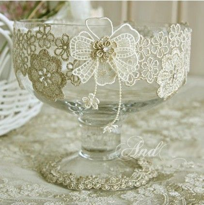 Lace home and a bowl on pinterest for Wine glass decorations for weddings