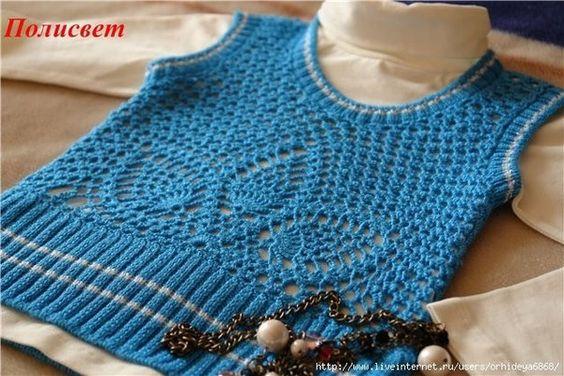 Mis Pasatiempos Amo el Crochet: Chaleco de niña esquema crochet