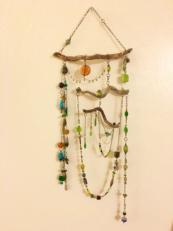 Beaded Driftwood Sun Catcher/Mobile by TheDevilsclub on Etsy