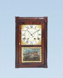 AN AMERICAN MAHOGANY 30-HOUR WEIGHT DRIVEN SHELF CLOCK WITH WOOD MOVEMENT  INVENTED BY ELI TERRY, MADE AND SOLD BY SETH THOMAS. FIRST HALF 19TH CENTURYhttp://www.christies.com/