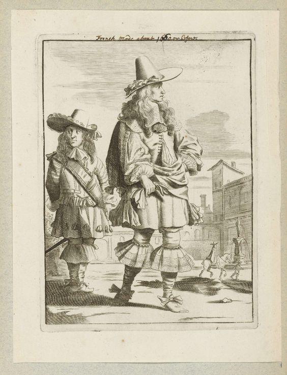 Jan van Troyen   Heer en jongeman gekleed volgens de mode omstreeks 1660, staand op een plein, Jan van Troyen, Gerbrand van den Eeckhout, c. 1660   Een heer, gekleed volgens de Franse mode van ca. 1660. Hij draagt een wambuis met brede kanten kraag, pofbroek en kousen met brede canons. Schoenen met strikken. Punthoed met brede rand en strik op het lange haar dat over de schouders valt. Handschoenen in de hand. Achter hem een jongeman die ongeveer hetzelfde is gekleed. Rechtsachter ruiter en…