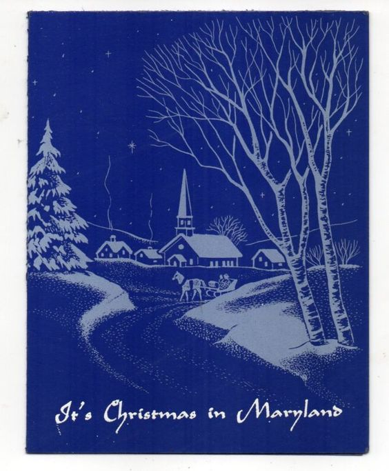 Vintage Christmas Greeting Card It's Christmas In Rockville Maryland