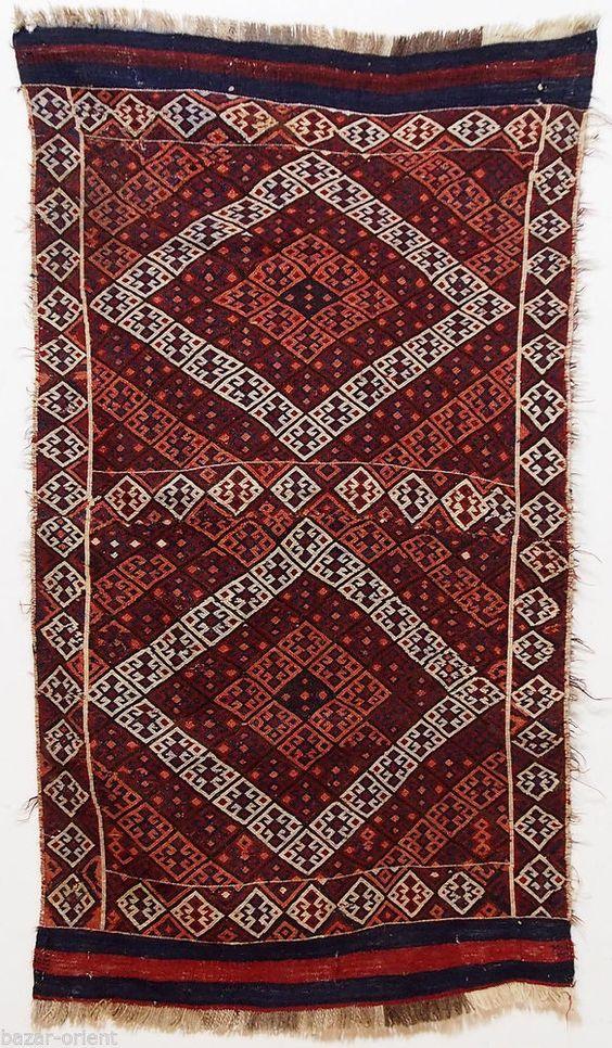150x84 cm antik orient Teppich Nomaden kasak sumakh kelim kazak kilim rug Nr-646