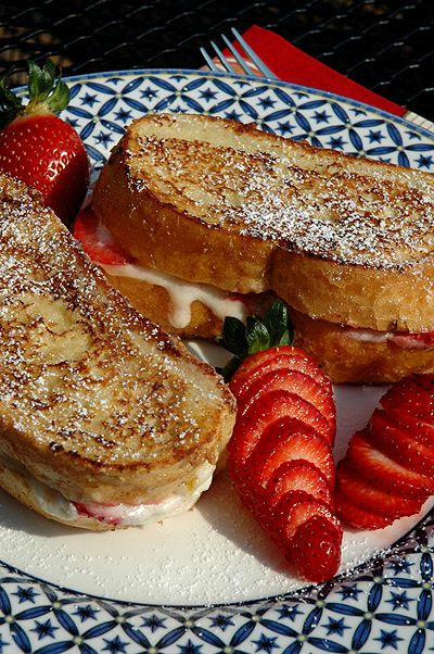 Strawberry and cream stuffed french toast.