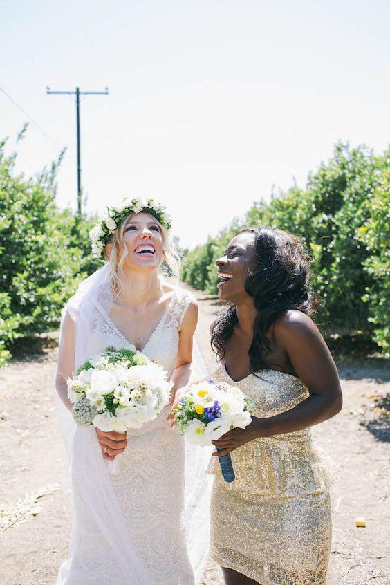 Bridesmaids having a giggle - love that sparkly gold dress!   Jack & Hannah Film & Photography   Bridal Musings Wedding Blog 14