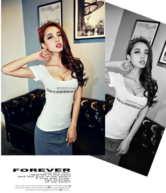 Women's Short Sleeve Letter Print Night Club Sexy T-shirt Fashion Ladies Summer Cotton Tshirt Tee Tops | PinkPenguinBoutique