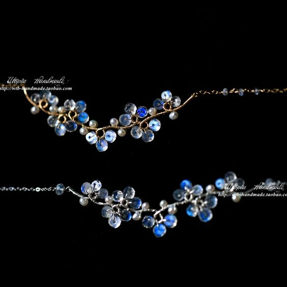 天然月光石珍珠項鏈花朵14k包金925純銀梅花鎖骨鏈女手工