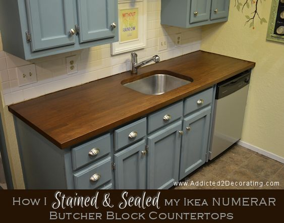 how i stained sealed my butcher block countertops stains countertops and cabinets. Black Bedroom Furniture Sets. Home Design Ideas