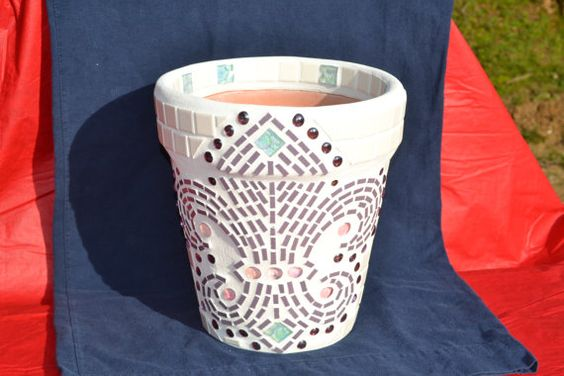 Mosaic Flower Pot / Planter Fleur De Lis Design by MosaicsByJoan, $65 ...