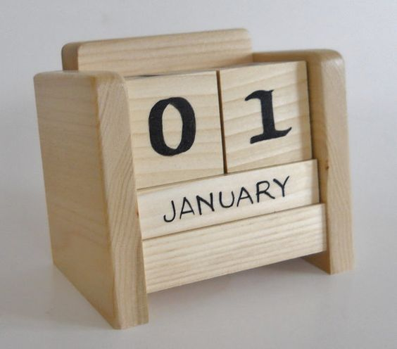Calendar Wooden Blocks : Perpetual desk calendar wooden block by heartsdesire on
