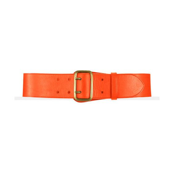 Ralph Lauren Calfskin Double-Prong Belt - Orange - Size M (other Sizes... ($115) ❤ liked on Polyvore
