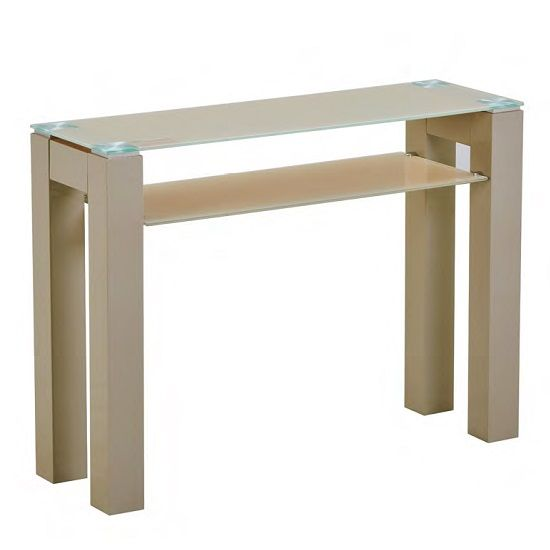 Kelson Glass Console Table Rectangular In Latte With Wooden Legs