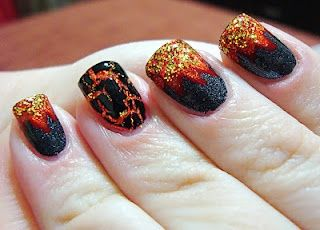 Hunger Games inspired manicure (Fire and Hot Coal as accent) pflores