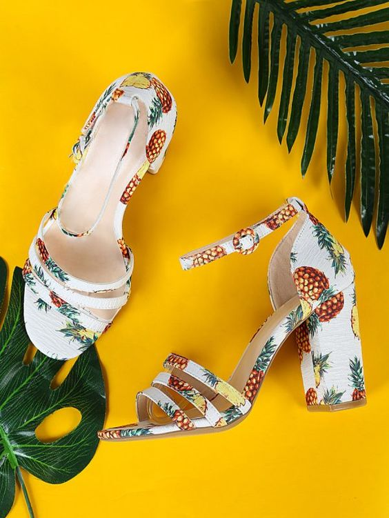 High Heels 2018: Top 25 Trends & Styles - HighHeelseek | Pineapple High Heels, Pineapple Print Heeled Sandals