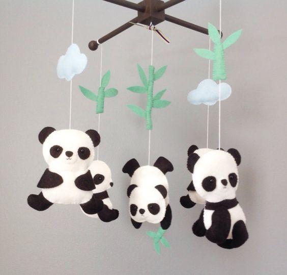 Baby Mobile Crib Baby Mobile Nursery Decor Panda by wonderfeltland