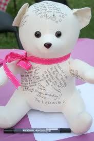 "siggy bear as a first birthday ""guest book"""