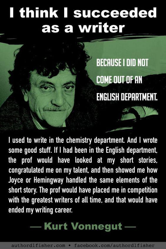 Getting out of the box with Kurt Vonnegut. #KurtVonnegut #WritingSuccess #writing #WritingAdvice #AuthorQuote