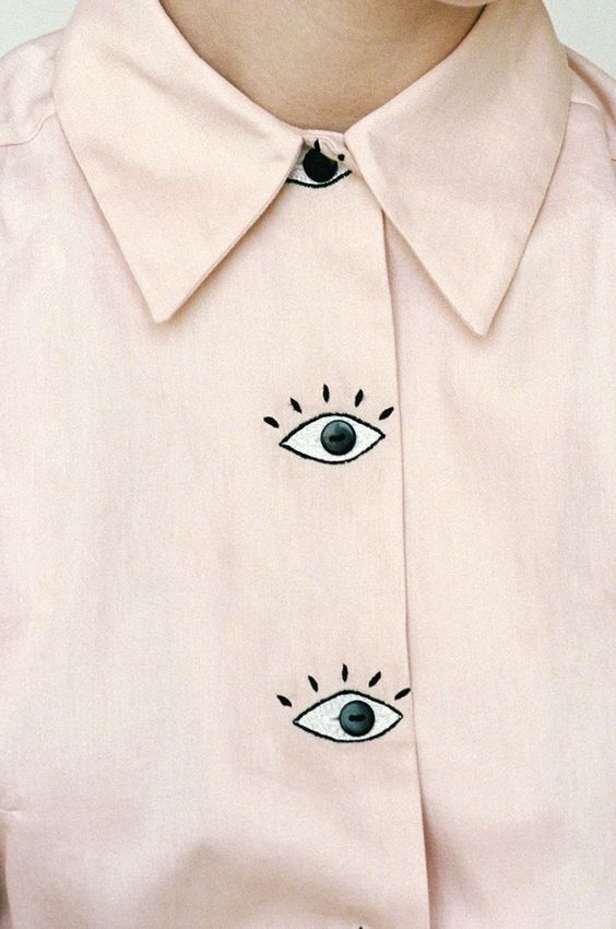 Baron's Eyes Blouse // Pale pastel pink blouse with large cartoon eyes for buttons, by womenswear/clothing designer Hannah Kristina Metz: