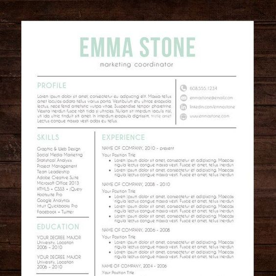 Creative Resume Template Modern Design Mac Or Pc Word Free