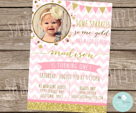 GOLD and PINK First Birthday Invitation by littlebirdieprints ...