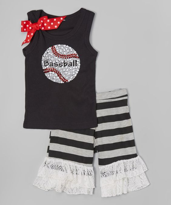 Look at this Black 'Baseball' Tank & Ruffle Shorts - Toddler & Girls on #zulily today!