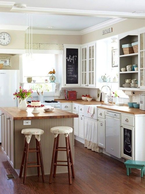Paint a cabinet door with chalkboard paint, love!! Also like the glass cabinet doors mixed in with wood. AND obviously the aqua pops of color!