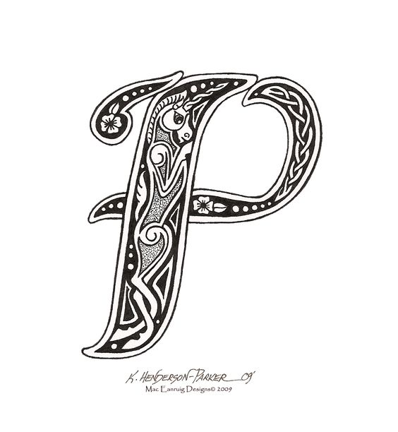 Celtic Letter P With Unicorn