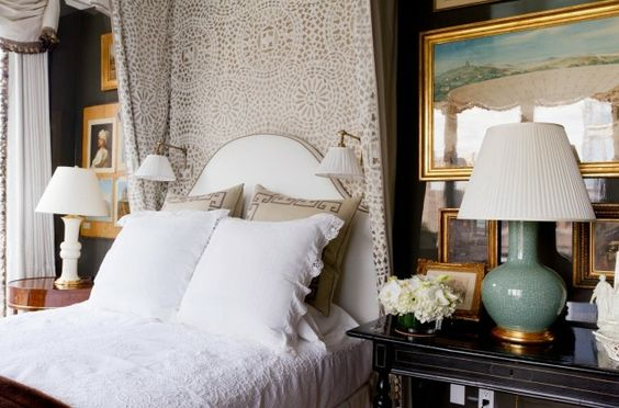 """The Bedroom"" at Kips Bay Decorator Showhouse in NYC by Alexa Hampton: Besides the breathtaking views of the Hudson River, this bedroom has lacquered walls, silverleaf ceiling, and a so-cozy half-tester bed."