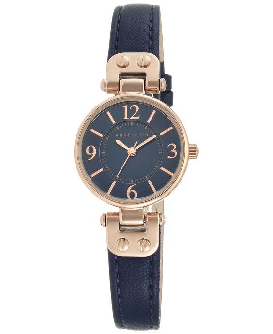 Anne Klein Women's Navy Leather Strap Watch 26mm 10/9442RGNV - Anne Klein - Jewelry & Watches - Macy's
