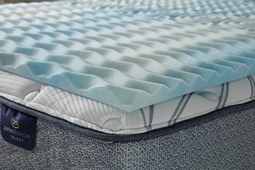 Serta Comfort Zone Memory Foam Mattress Topper California King Blue In 2020 Memory Foam Bed Topper Memory Foam Mattress Topper Serta Mattress Topper
