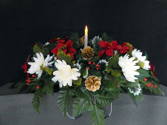 Solar Powered Flicker Light Candle Cemetery Flower
