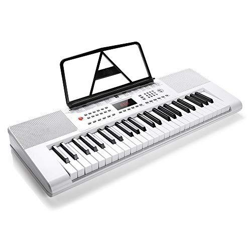 Vangoa Vgk4901 White 49 Key Electronic Piano Keyboard With Mic Power Adapter Lcd Display Screen Portable Keyboard Electronics Piano Keyboard