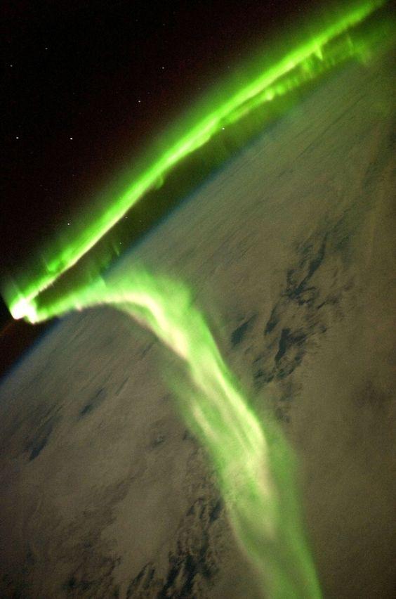 An aurora borealis seen from the International Space Station by umer zahid. #Aurora_Boralis #International_Space_Station