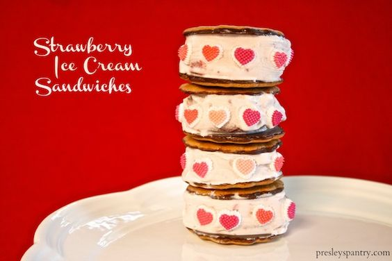 Valentines day treats, Strawberry ice cream and Ice cream sandwiches ...