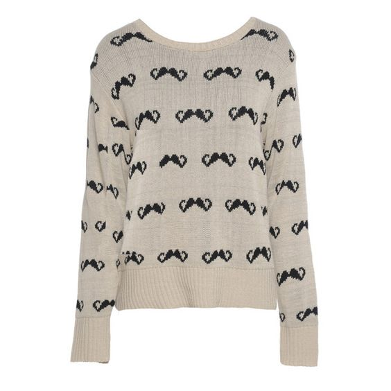 AX Paris Moustache Knit Jumper ($32) ❤ liked on Polyvore