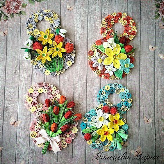 #магнит к #8марта Восьмерочка в технике #квиллинг #quilling #quillingart  Поедут к хорошим людям в подарок.  #весенниецветы #нарциссы #тюльпаны #подснежник