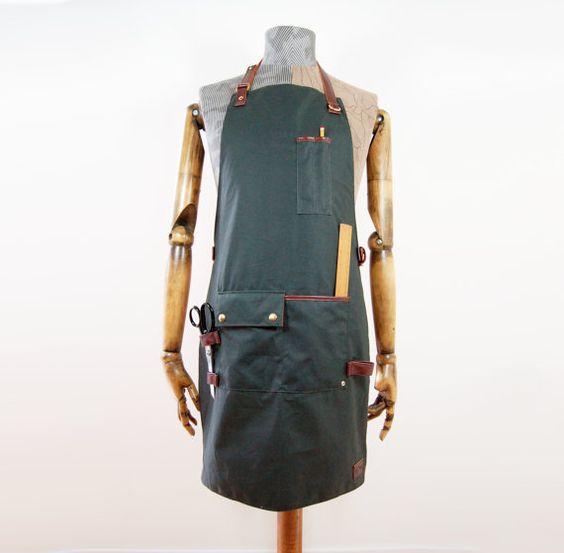 Handmade Waxed Cotton & Leather Workwear Workshop Apron. on Etsy, $160.00