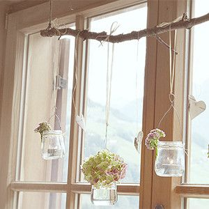 Romantische Fensterdekoration