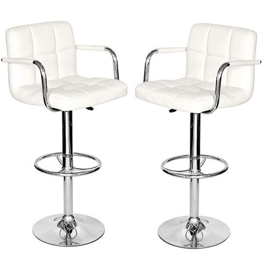 Glenn Bar Stools In White Faux Leather in A Pair
