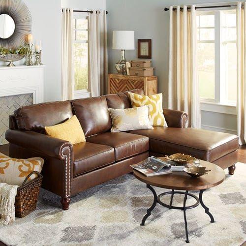 Trang trí phòng khách nhỏ với sofa da tphcm dạng góc