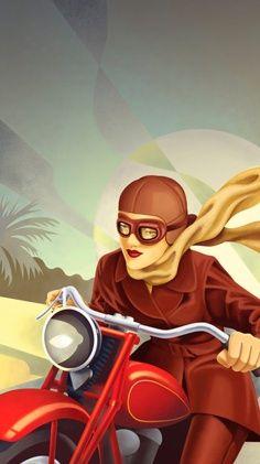 Vintage Motorcycle Woman