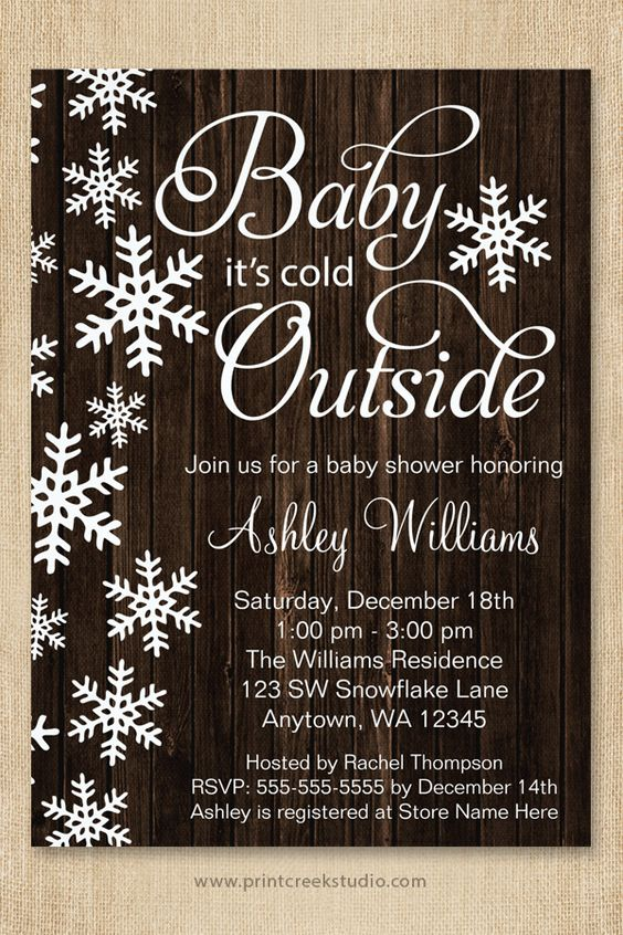baby it 39 s cold outside baby shower invitations a rustic winter theme