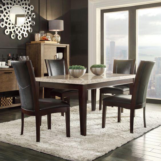 Shop Tribecca Home Decor Faux Alligator Print Dining Chair: TRIBECCA HOME Sonata Black-brown Marble 5-piece Dining Set