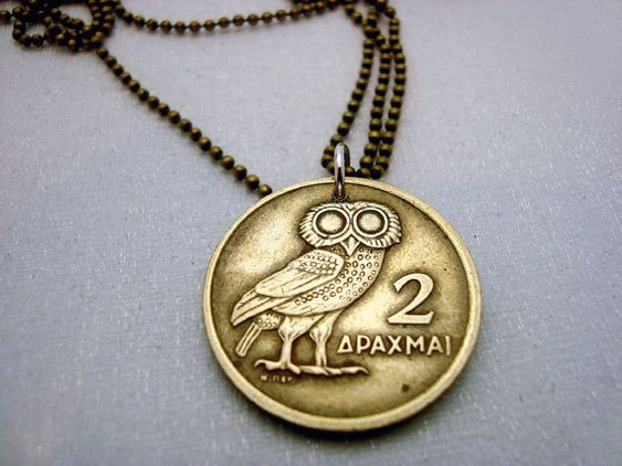 Owl Necklace Greek OWL COIN NECKLACE owl of by FindsAndFarthings